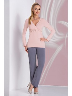 Женская трикотажная пижама с брюками из вискозы