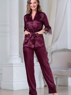 Шелковая женская пижама: брюки и элегантный жакет с топом в бордовом цвете