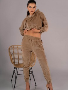 Женский домашний велюровый костюм с брюками из хлопка песочного цвета