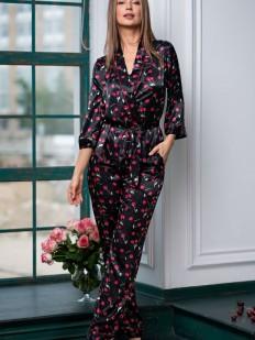 Женская атласная пижама с вишенками в комплекте рубашка и брюки Mia-Amore Cherry