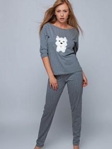 Теплая хлопковая женская пижама со штанами и кофтой с собачкой
