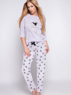 Сиреневая хлопковая брючная пижама с пингвином и снежинками