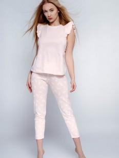 Хлопковая женская пижама с укороченными брюками и футболкой с оборкой