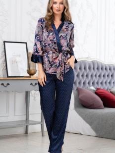 Шелковая женская пижама с синими брюками и принтованным верхом
