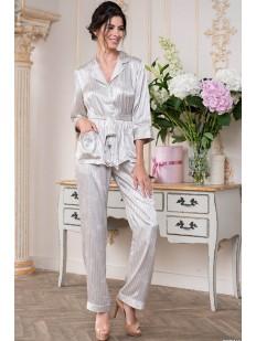 Домашний атласный женский комплект в полоску: жакет и брюки из жаккардового полотна