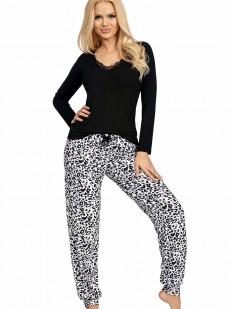 Женская трикотажная пижама с принтованными леопардовыми брюками
