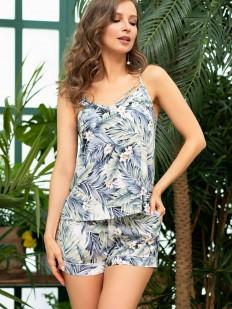 Женская летняя пижама с шортами и топом из вискозы с тропическим принтом