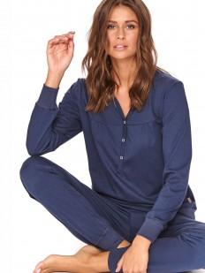 Темно-синяя пижама из хлопка с брюками и рубашкой на пуговицах