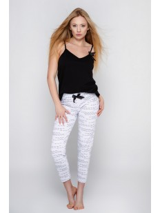 Хлопковая женская пижама с белыми брюками  и черным топом