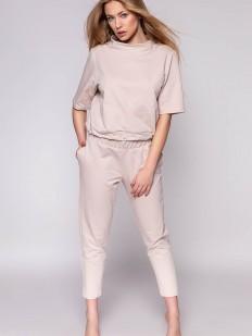 Домашний женский хлопковый костюм с брюками и кофтой бежевый