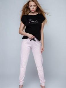Хлопковая женская пижама с розовыми штанами и леопардовым принтом