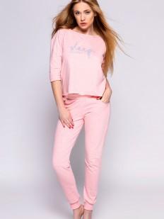 Женский домашний розовый комплект с брюками и кофтой