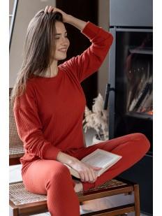 Женская трикотажная пижама из вискозы в рубчик
