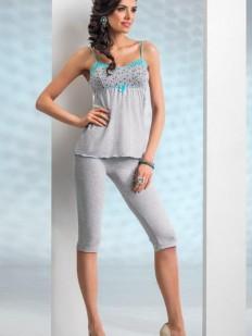 Женская летняя трикотажная пижама с бриджами и топом из вискозы