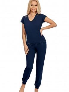 Синяя трикотажная пижама из вискозы с брюками и футболкой