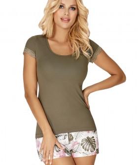 Женская летняя пижама с тропическими шортами и футболкой цвета хаки