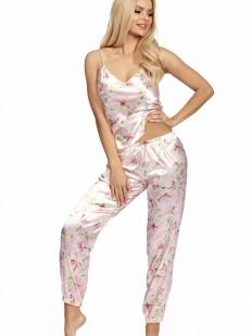 Нежно-розовая атласная брючная пижама на тонких бретелях с цветочным принтом