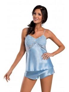 Женская атласная летняя пижама с шортами и кружевным лифом голубая