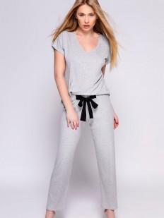 Женская трикотажная пижама с брюками из серой вискозы