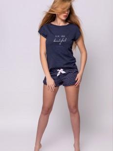 Летняя женская пижама из хлопка с шортами в горошек