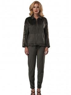 Теплый спортивный домашний костюм для женщин с курткой и брюками