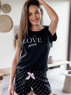 Черная летняя женская пижама с шортами в сердечко
