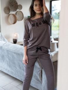 Женская пижама с укороченными брюками из хлопка цвета какао
