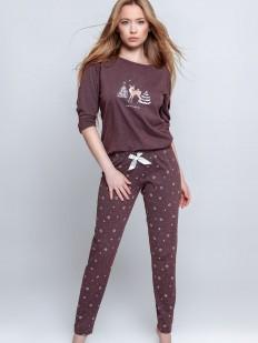 Женская брючная пижама из хлопка с новогодним рисунком