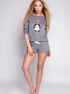 Женская пижама из серого хлопка с шортами и забавным принтом пингвина