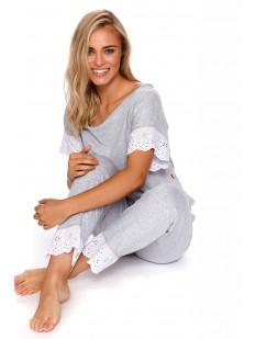 Красивая серая брючная пижама из хлопка с кружевной отделкой