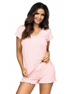 Женская трикотажная летняя пижама с шортами из вискозы розовая