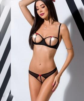 Открытый черный сексуальный комплект белья
