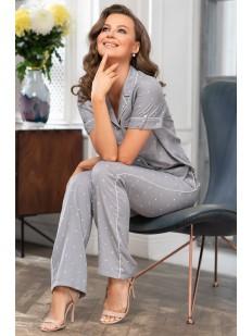Женская трикотажная пижама с брюками из вискозы в горошек