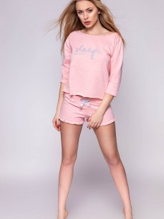 Домашний женский комплект из хлопка с шортами розовый