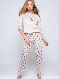 Хлопковая брючная женская пижама с принтом оленей