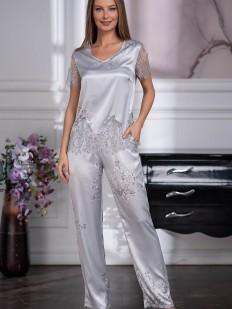 Серебристая женская брючная пижама из шелка с кружевным декором