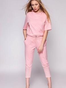 Женский домашний розовый костюм с брюками из хлопка