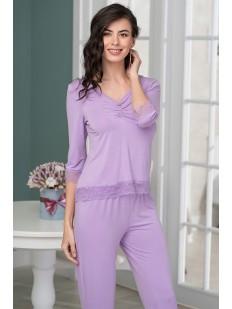 Женская сиреневая пижама с брюками из трикотажа с кружевной отделкой