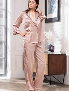 Шелковая женская пижама с брюками и рубашкой пудрового цвета