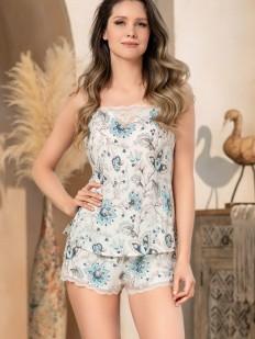 Летняя женская пижама с шортами и цветочным принтом