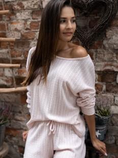Женский пижамный комплект с шортами из вискозы в рубчик светло-розовый