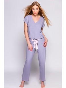 Женская трикотажная пижама с брюками из сиреневой вискозы