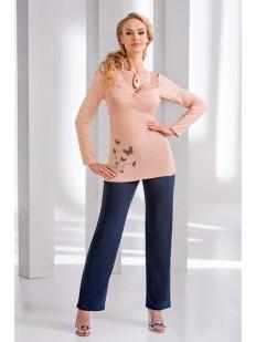 Женская трикотажная пижама с брюками из вискозы персиковая