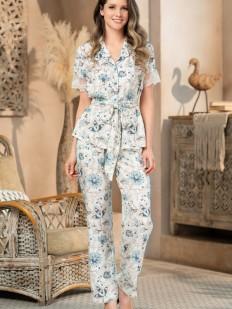 Брючная женская пижама из вискозы с цветочным принтом