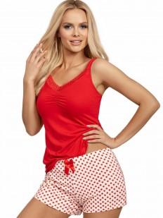 Летняя женская пижама из вискозы с шортами и сердечками