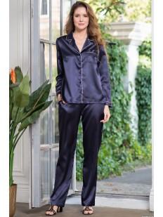 Синий пижамный женский комплект с брюками и рубашкой на пуговицах