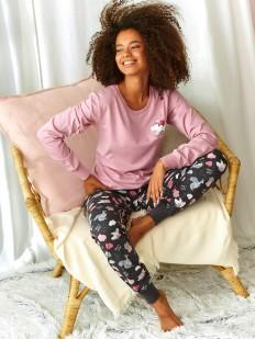 Хлопковая женская пижама с розовой кофтой и серыми брюками с принтом
