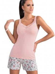 Летняя женская трикотажная пижама с цветочными шортами и розовым топом