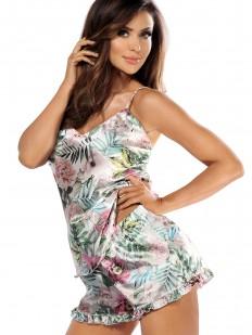 Женская атласная летняя пижама с шортами и растительным принтом бежевая