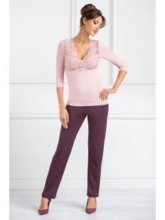 Женская трикотажная пижама с брюками из вискозы розовая